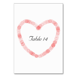 Hochzeits-Liebe-Herz-Tischnummer \ Platzkarten