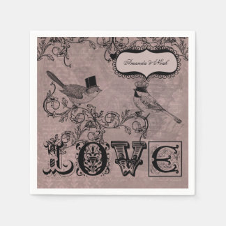 Hochzeits-Liebe-Vogel-personalisierte Papierservietten