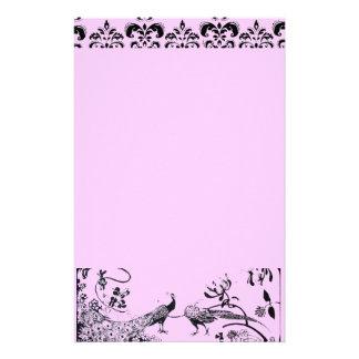 HOCHZEITS-LIEBE-VÖGEL schwarz und rosa Damast Individuelles Druckpapier