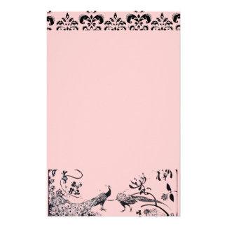 HOCHZEITS-LIEBE-VÖGEL schwarz und rosa Damast Personalisiertes Büropapier