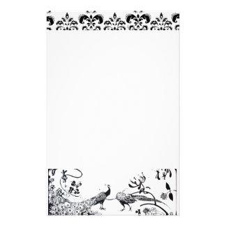HOCHZEITS-LIEBE-VÖGEL Schwarz-weißer Pfau-Damast Personalisiertes Büropapier