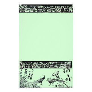 HOCHZEITS-LIEBE-VÖGEL Schwarzes und Grün Individuelles Druckpapier