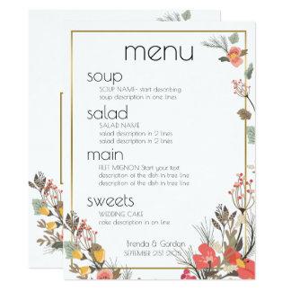 Hochzeits-Menü-Blumen u. Goldrahmen 16,5 X 22,2 Cm Einladungskarte