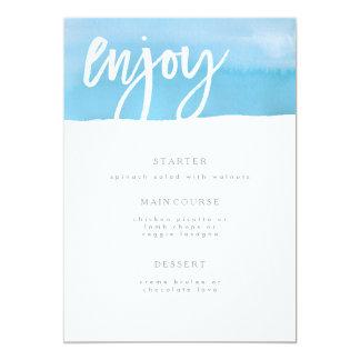 Hochzeits-Menü-Karte, blaues Aquarell 12,7 X 17,8 Cm Einladungskarte