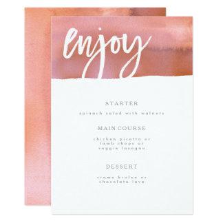 Hochzeits-Menü-Karte, Koralle, rosa Aquarell Karte