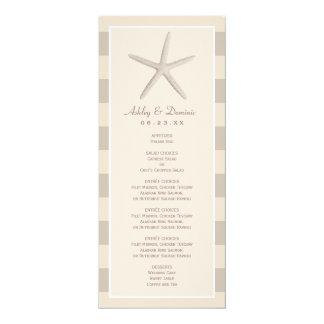 Hochzeits-Menü-Karte| neutrale Starfish-Streifen 10,2 X 23,5 Cm Einladungskarte
