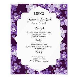 Hochzeits-Menü-Kirschblüten lila Kirschblüte Flyer