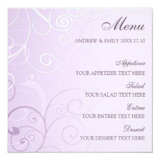 Hochzeits-Menü-Lavendel-Wirbel Quadratische 13,3 Cm Einladungskarte