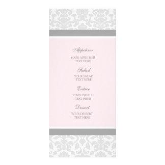 Hochzeits-Menü-Rosa-Grau-Damast Kartendruck