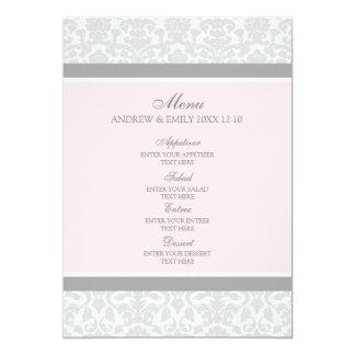 Hochzeits-Menü-Rosa-grauer Blumendamast 12,7 X 17,8 Cm Einladungskarte