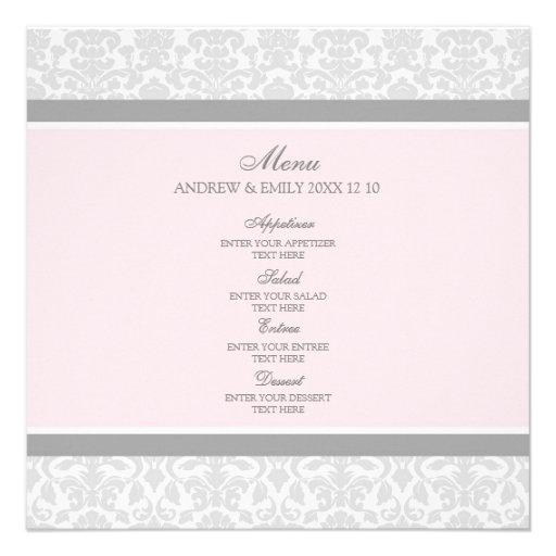 Hochzeits-Menü-Rosa-grauer Blumendamast Individuelle Einladung