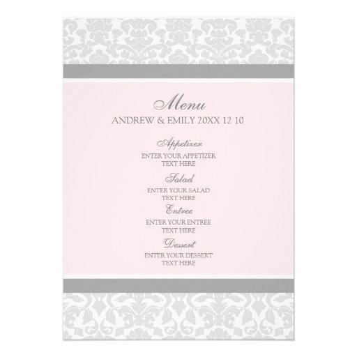 Hochzeits-Menü-Rosa-grauer Blumendamast Personalisierte Einladungskarten
