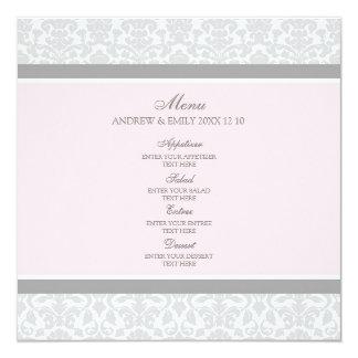 Hochzeits-Menü-Rosa-grauer Blumendamast Quadratische 13,3 Cm Einladungskarte