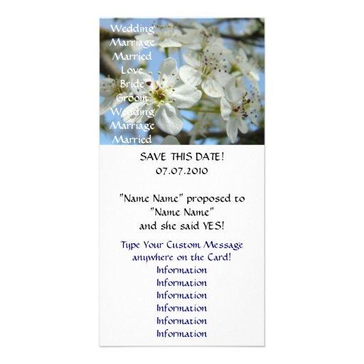 Hochzeits-Mitteilung kardiert Save the Date Blüten Bilderkarten
