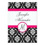 Hochzeits-Monogramm-Damast-Pink-Einladungs-Front Personalisierte Einladungen