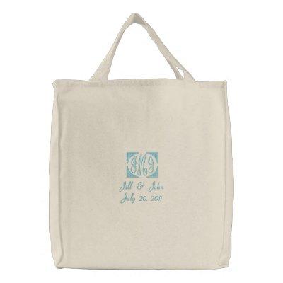 Hochzeits-Monogramm nennt Datums-Taschen-Tasche