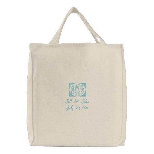 Hochzeits-Monogramm nennt Datums-Taschen-Tasche Bestickte Tragetasche