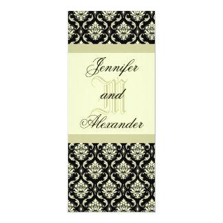 Hochzeits-Monogramm schwarz und 10,2 X 23,5 Cm Einladungskarte