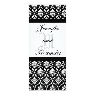 Hochzeits-Monogramm-schwarze u. weiße 10,2 X 23,5 Cm Einladungskarte