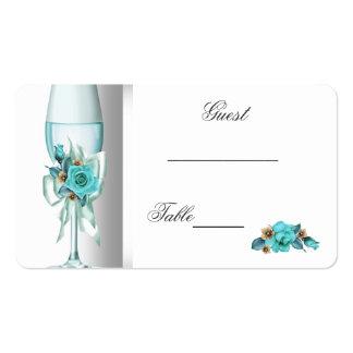 Hochzeits-Namensplatz-aquamarine weiße beige Rose Visitenkartenvorlage