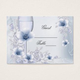 Hochzeits-NamensPlatzkarte-Silber-blaue Jumbo-Visitenkarten