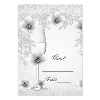 Hochzeits-NamensPlatzkarte-weiße silberne Visitenkarten
