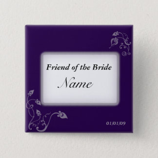 Hochzeits-Namensschild - Puple Reben Quadratischer Button 5,1 Cm