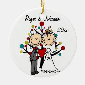 Hochzeits-Paar-1. Weihnachtspersonalisierte Keramik Ornament