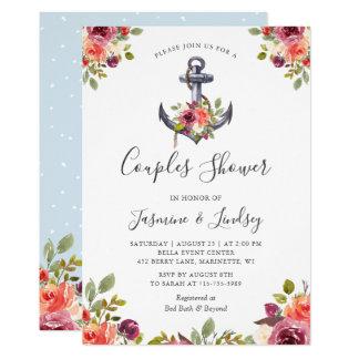 Hochzeits-Paar-Duschen-Seeanker mit Blumen Karte