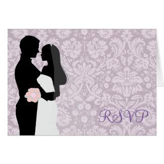 Hochzeits-Paar-Lavendel-Damast UAWG-Karte Karte