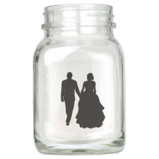 Hochzeits-Paar-Silhouette-Maurer-Gläser Einmachglas