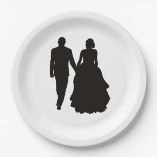 Hochzeits-Paar-Silhouette-Papier-Teller Pappteller