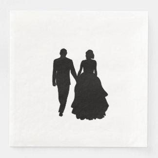 Hochzeits-Paar-Silhouette-Servietten Papierserviette