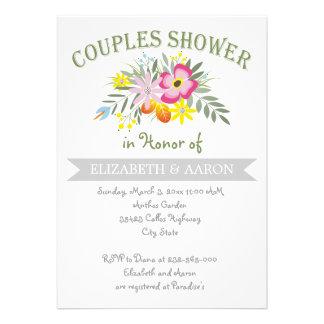 Hochzeits-Paardusche der Folklore rosa foral Einladungskarte