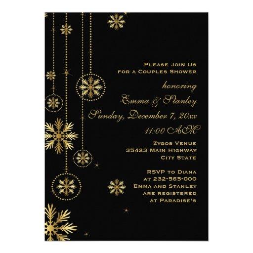 Hochzeits-Paardusche der Goldschneeflocken Individuelle Ankündigskarten
