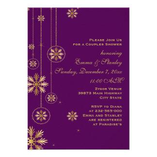 Hochzeits-Paardusche der Goldschneeflocken lila Individuelle Ankündigungskarte