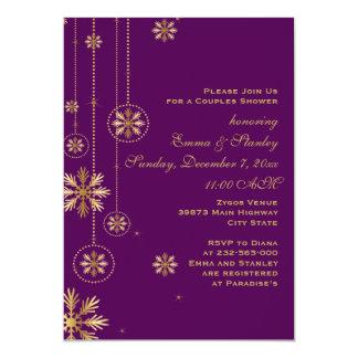 Hochzeits-Paardusche der Goldschneeflocken lila 12,7 X 17,8 Cm Einladungskarte