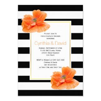 Hochzeits-Paardusche der korallenroten Mohnblumen 12,7 X 17,8 Cm Einladungskarte