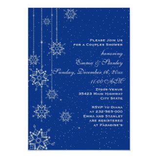 Hochzeits-Paardusche der Kristallschneeflocken 12,7 X 17,8 Cm Einladungskarte
