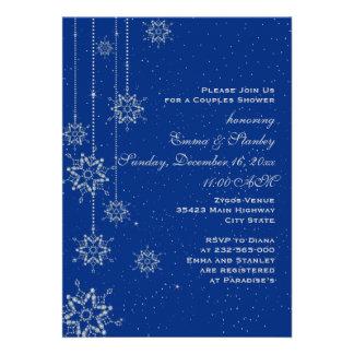 Hochzeits-Paardusche der Kristallschneeflocken Einladungskarte