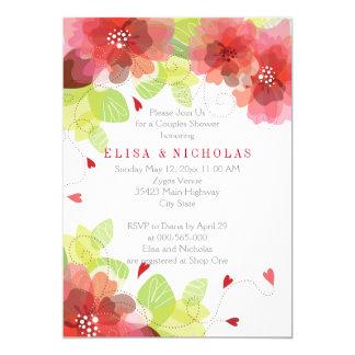 HOCHZEITS-Paardusche der roten, rosa Blumen Blumen 12,7 X 17,8 Cm Einladungskarte