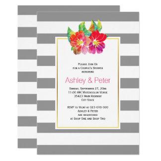 Hochzeits-Paardusche der Watercolor-Blumen graue 12,7 X 17,8 Cm Einladungskarte
