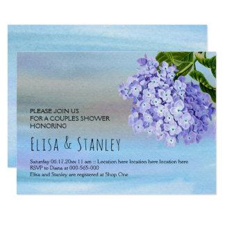 HOCHZEITS-Paardusche des blauen Hydrangea Blumen 12,7 X 17,8 Cm Einladungskarte