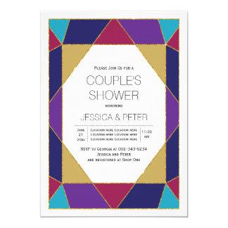 Hochzeits-Paardusche des geometrischen Juwels 12,7 X 17,8 Cm Einladungskarte