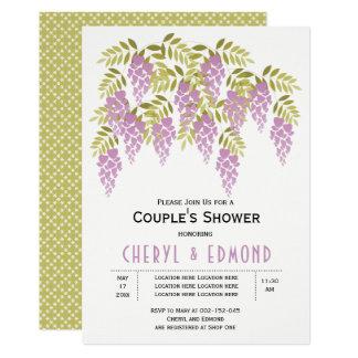 HOCHZEITS-Paardusche des lila Wisteria Blumen 12,7 X 17,8 Cm Einladungskarte