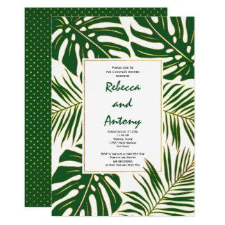 Hochzeits-Paardusche des tropischen Blätter 12,7 X 17,8 Cm Einladungskarte