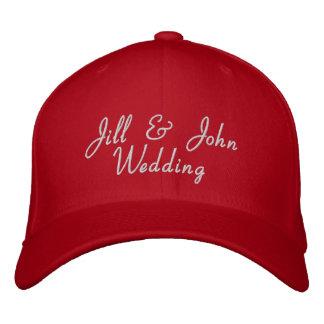 Hochzeits-Party-Braut-u Bräutigam-Namen-Rot-Hut Bestickte Kappen