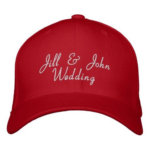 Hochzeits-Party-Braut-u. Bräutigam-Namen-Rot-Hut Bestickte Kappen