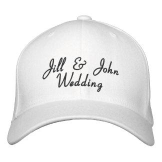 Hochzeits-Party-Braut-u. Bräutigam-Namen-Weiß-Hut Bestickte Baseballcaps