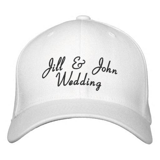 Hochzeits-Party-Braut-u. Bräutigam-Namen-Weiß-Hut Bestickte Baseballmützen